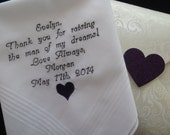 Mother-in-law wedding handkerchief. Free Gift envelope. Thank you for raising the man of my dreams! Love Always, Morgan May 17th 2014.......