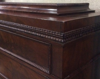 Neoclassical mahogany tall chest with butler's desk secrétaire à abattant