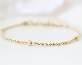 Dainty gold bracelet • Gold chain bracelet • Gifts for her