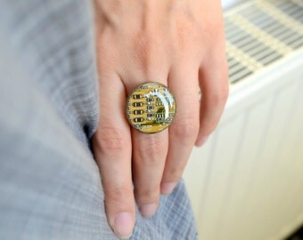 Yellow Geometric Circuit Board Ring, Steampunk Computer jewelry, Geekery Techie Ring