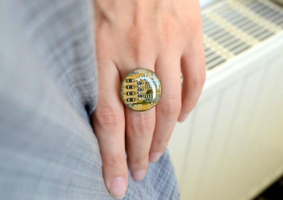 Yellow Geometric Circuit Board Ring, Steampunk Computer jewelry, Geekery Techie Ring