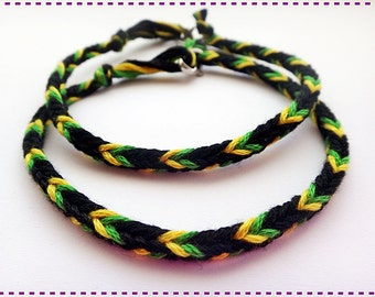 Handmade Black Green Yellow Friendship Bracelet Couple Bracelets Jamaica Set of 2
