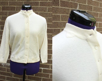 1950s Cream 100 percent Cashmere Button Cardigan Sweater