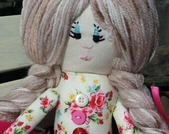 Rag Doll. Soft Doll. Girls Doll. Gift for Girl. Girl Christening Gift. Girls First Birthday Gift. Christmas Dolly.