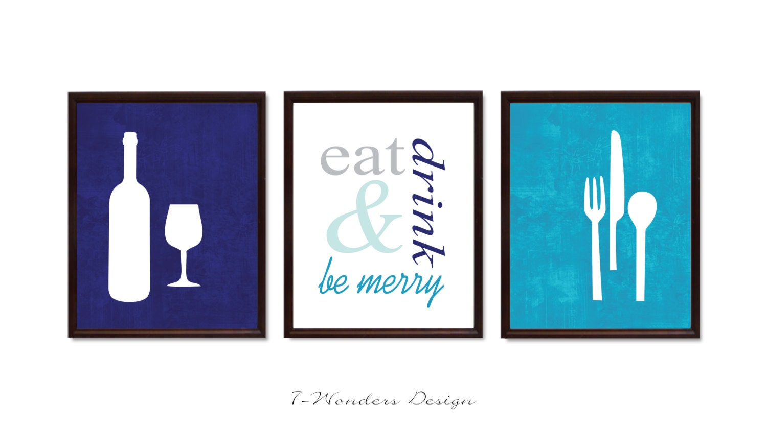 Modern kitchen art print set eat drink and be by for Kitchen artwork