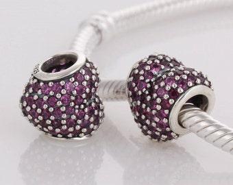 New Arrival 100% 925 Sterling Silver Rose Rhinestone Crystal Love Heart  Charm Beads Fit European Style Jewelry Bracelets LW251C
