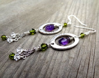 Sterling Silver purple Amethyst wire wrap chain dangle green crystal handmade earrings jewelry