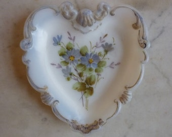 Vintage Milk Glass Dish Heart Shaped With Hand Painted Floral Design 1950s