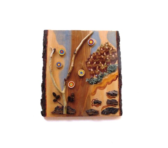 Natural materials assemblage painting by naturalmaterialsart for Painting with nature items