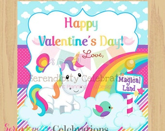 Instant Download: DIY Printable Favor Tags- Unicorn Valentines Day Tags -Gift Tags -Square Thank You Tags -School Treats -Holiday