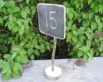 ONE Blank Rustic Wedding Chalkboard Table Number Wood Stand Wooden Signs for Rustic Barn Outdoor Reception idea decoration Chalk Sign