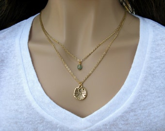 Gold Sand Dollar Pendant Necklace, Gold Chain Necklace, Layered Charm Necklace, Gold Strand Necklace
