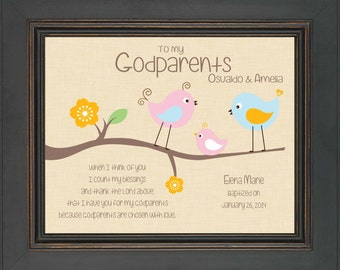 Godparents gift - 8x10 Print - Personalized gift for Godmother & Godfather- Gift from Godchild - Custom Godparents Print