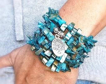 Turquoise Memory Wire Bracelet, Tree of Life Charm, Blue Yoga Bracelet, Blue Boho Bracelet. Turquoise Cuff, Aqua Bracelet