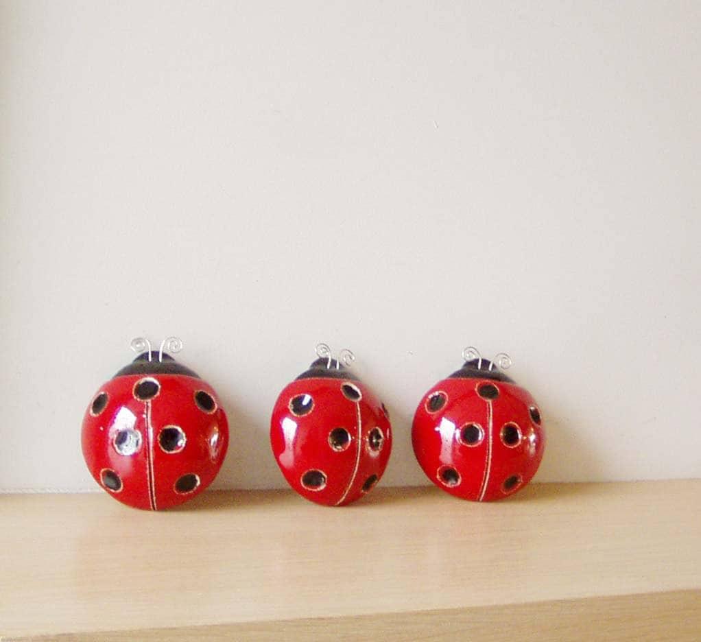 Ladybug ornaments - Ceramic Ladybug Sculpture Red Black Ladybug Wall Hanging Spring Decor Ladybug Of Earhtenware Clay