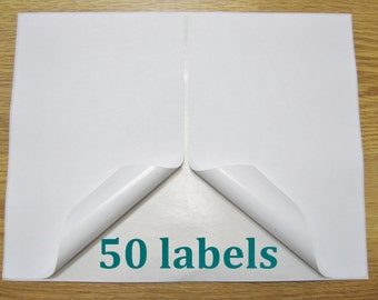 50 Shipping Labels Self Adhesive Printer Paper 8.5 x 5.5 Half Sheet USPS UPS FedEx PayPal Etsy Postage