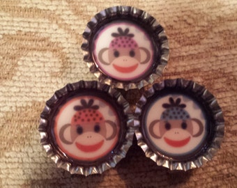 Three Phunky Monkeys with winter hats bottlecap magnets