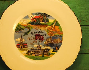 rare Pennsylvania SOUVENIR PLATE state plate kitch etsy lovely road trip souvenir collectible no.10 wall hanging home decor red green blue