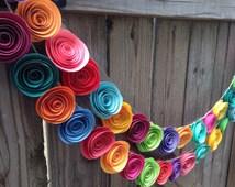 Paper Flower Garland. Colorful paper flower garland, neon paper flowers. Holiday garland. Christmas tree garland.