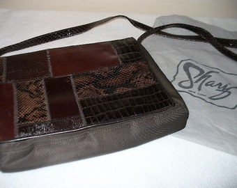Vintage Sharif Exotic Couture Genuine Leather Crocodile Snakeskin Brown Patchwork Purse