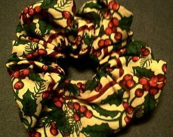 Hand Made Hair Scrunchie - Holly And Berries