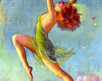 Dancing For Spring!  Art DecoVINTAGE Illustration. Art  Deco Digital Download. Vintage Art Deco Digital Print
