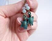 Green blue turquoise turtle earrings mint earrings, Animal jewelry, Dainty jewelry,  sea turtle jewelry