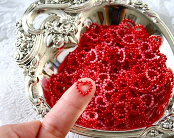 50 Red Pearl Heart Flatback Cabochons