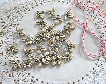 10 Christmas Holly Charms, double sided 3D