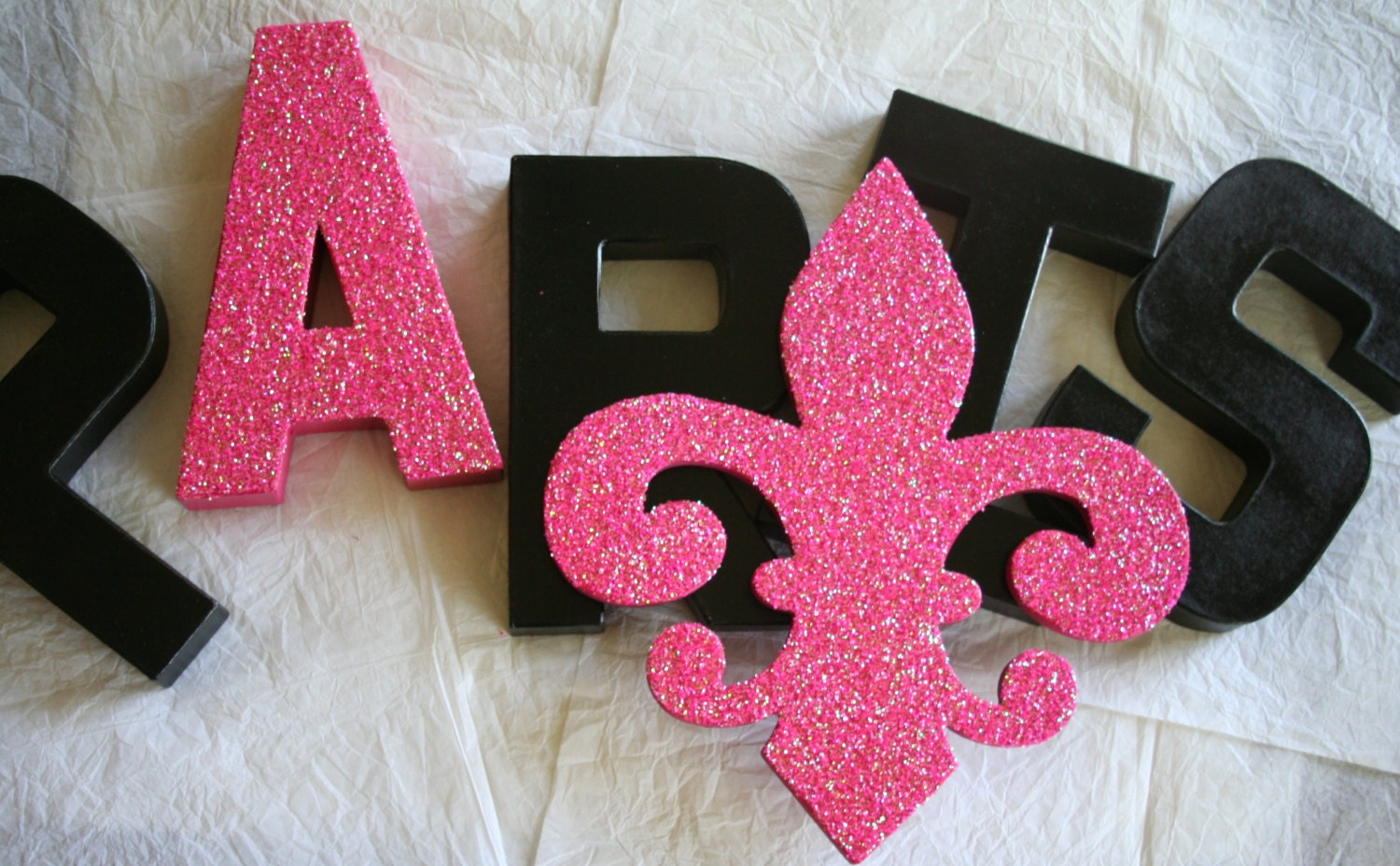 Paris Glittered Letters Fleur De Lis Home Decor Party Theme