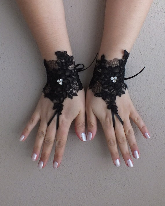 Wedding gloves free ship goth gothic black lace by byvivienn for Lace glove tattoo