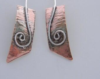 Copper Dangle Earrings, Bi-Metal Earrings, Copper and Silver Earrings, Dangling Earrings, Modern Earrings