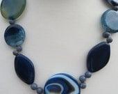Agate Gemstone Necklace, Blue Agate Beaded Necklace, Handmade Gemstone Necklace, Edinburgh Jewellery Designer, Gemstones 2 Glamour Jewellery