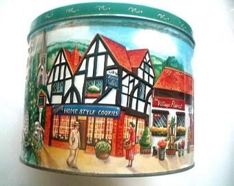 Large Ripensa Cookie Tin Danish with Scenic Tudor English Village