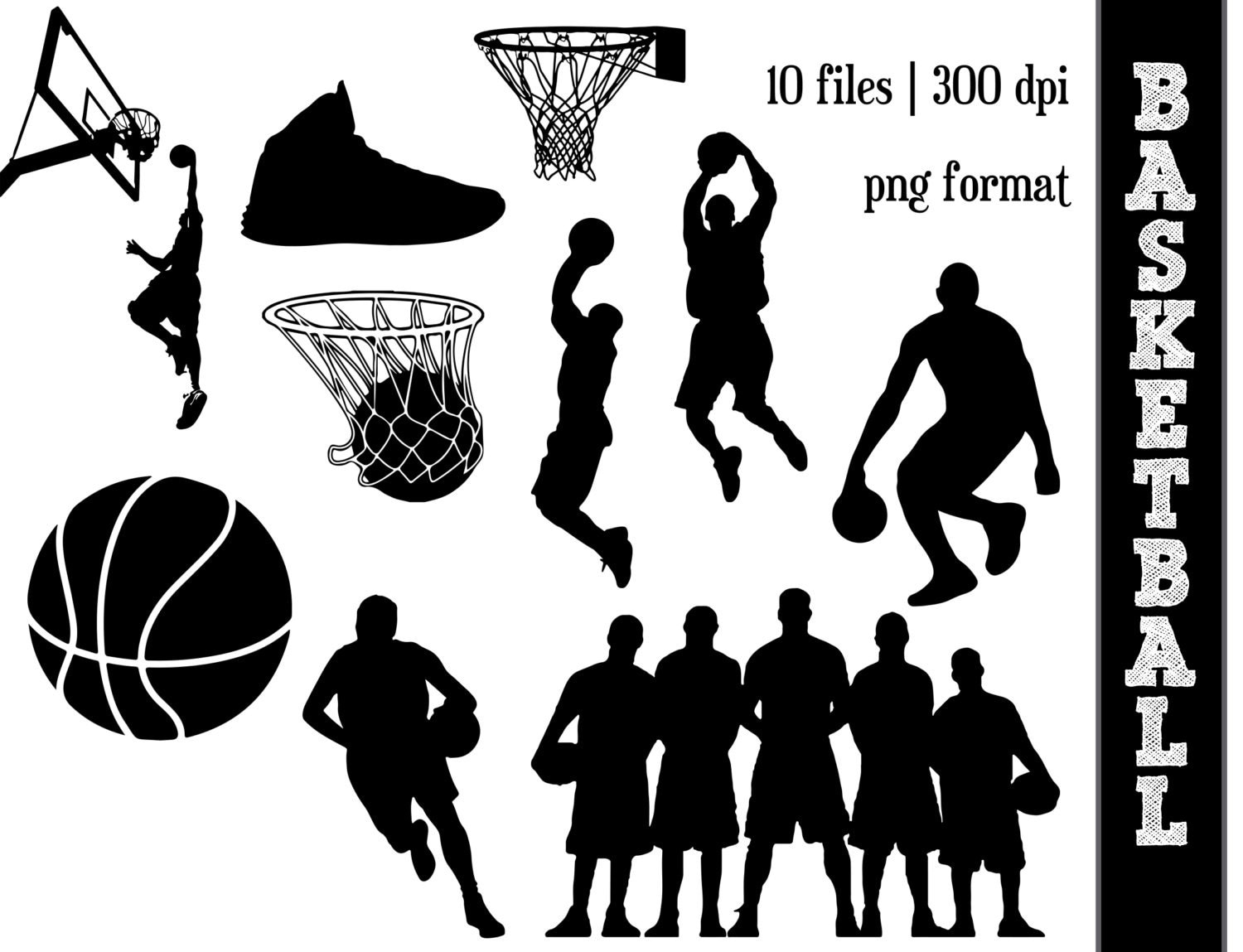 Basketball Silhouettes // Sports Silhouette // Ball Clipart //