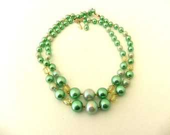 Green Bead Necklace Two Strand