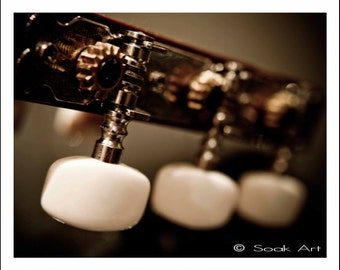 Guitar Fine Art Photo, Tuning Pegs, Marco Photography, Musical Instrument Close up, Sepia and White, monochromatic, 8x10, Object Still Life
