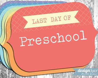 Printable Last Day Of School Signs Pre-K through Grade 12 Rainbow Colors - INSTANT DOWNLOAD