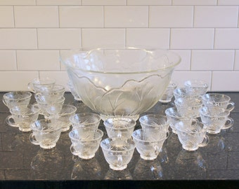 Spike the Punch... Vintage Punch Set; Indiana Glass, Clear, Pebble-Leaf Pattern - Large Bowl & 22 Cups