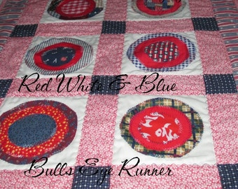 TABLE RUNNER, Red, White,  Blue,  RWB,   Banner, Wall Hanging, Quilt,  Home Décor,  Table Decor,  Americana,  Patriotic, Country Decor, Gift
