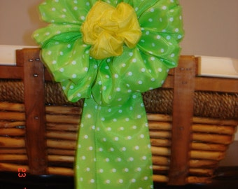 Spring Green Polka Dots  decoration for basket  gift, wreath or home decor
