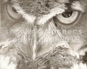 "Hunter, Instant Download Printable Photo Realistic  Pencil Drawing, 8 X 10""  Horned Owl"