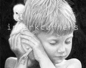 A Boy and a Duck, Original Photo Realistic Pencil Drawing, portrait, by Cliff Sperandeo