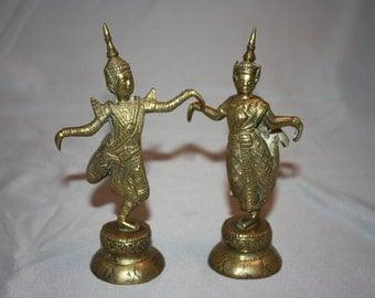 Vintage Pair of Siam Thailand Dancers in Brass