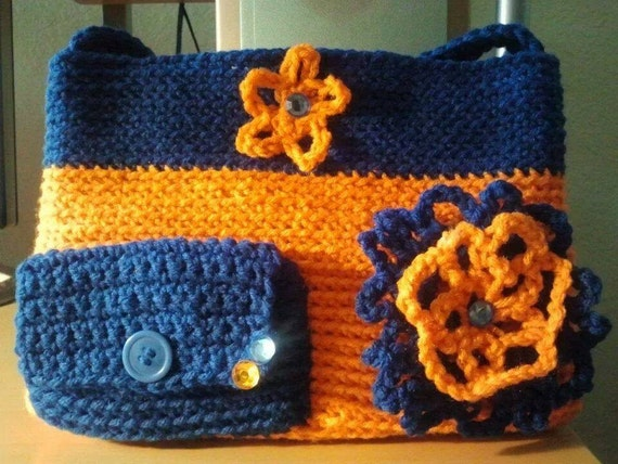 Handmade crochet orange and blue purse by DsHandmadeBoutique