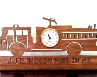 Personalized Fire Truck Clock