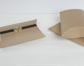 100 Large Kraft Pillow Boxes, Wedding Favors, Jewlry Packaging,Wedding Favor boxes, Packaging 7 x 5.5 x 2