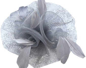 Gray Fascinator attached with clip