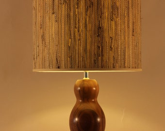 Yogi Table Lamp, solid walnut with grasscloth or white linen shade, modern design, mid-century