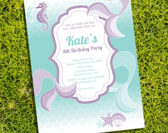 Mermaid/Under the Sea Party - Invitation Only - Instantly Downloadable and Editable File - Personalize at home with Adobe Reader
